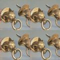 8 ELEPHANT pulls handles antique solid brass vintage drawer knobs ring 2.1/4""