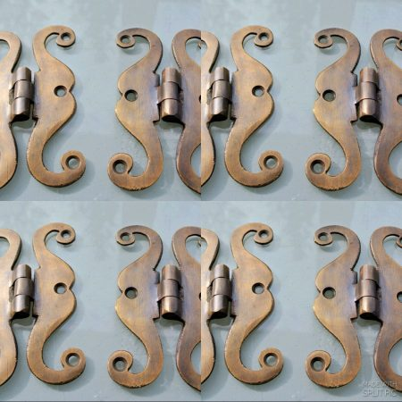 "8 aged small 'S "" snake hinges vintage aged style solid Brass DOOR BOX restoration heavy"