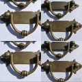 """2 small old look BOX drawer pull handles antiques brass vintage age style 4.1/2"""""""