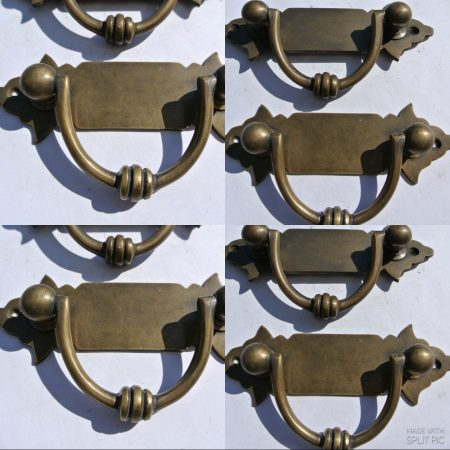 2 small old look BOX drawer pull handles antiques brass vintage age style 4.1/2""