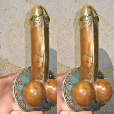 """2 large penis DOOR PULL or HOOK hand made solid hollow brass 9 """" handle"""