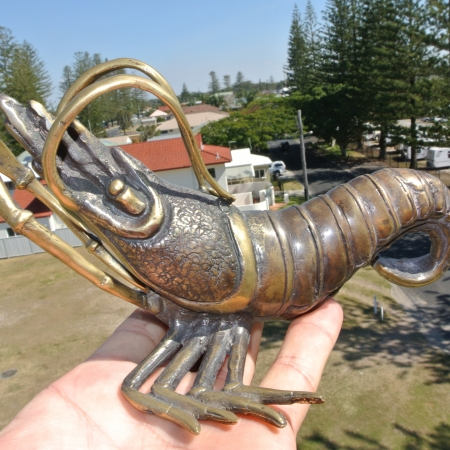 "PRAWN statue decor solid brass hollow 8 "" long heavy aged old look 21 cm bronze green oxidized patina hand made cast"