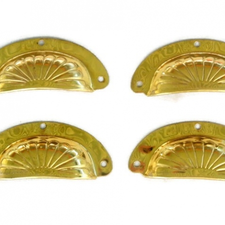 4 POLISHED shell shape pulls handles antique solid brass vintage old replace drawer pressed brass light weight solid brass