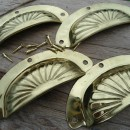 12 POLISHED shell shape pulls handles antique solid brass vintage old replace drawer kitchens drawers