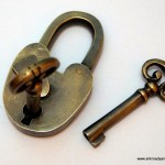 Padlock Vintage stye antique look solid heavy brass aged key lock works long neck 2""