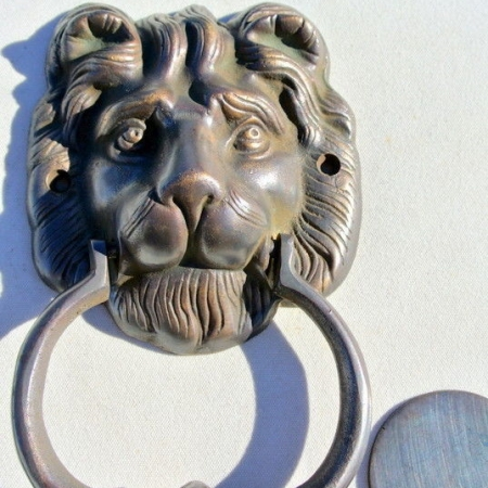 "LION solid BRASS hand made DOOR KNOCKER 6.1/2"" heavy bronze patina"