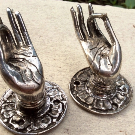 2 tiny finger Pull handle silver brass door antique old style HAND knob hook B