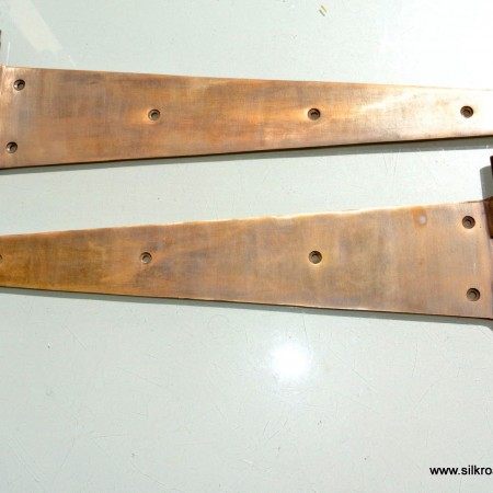 "2 aged HUGE hinges vintage aged style solid Brass DOOR BOX restoration heavy 18"""