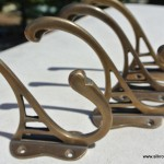 "4 COAT HOOKS solid brass old style 4"" Deco hall stand"