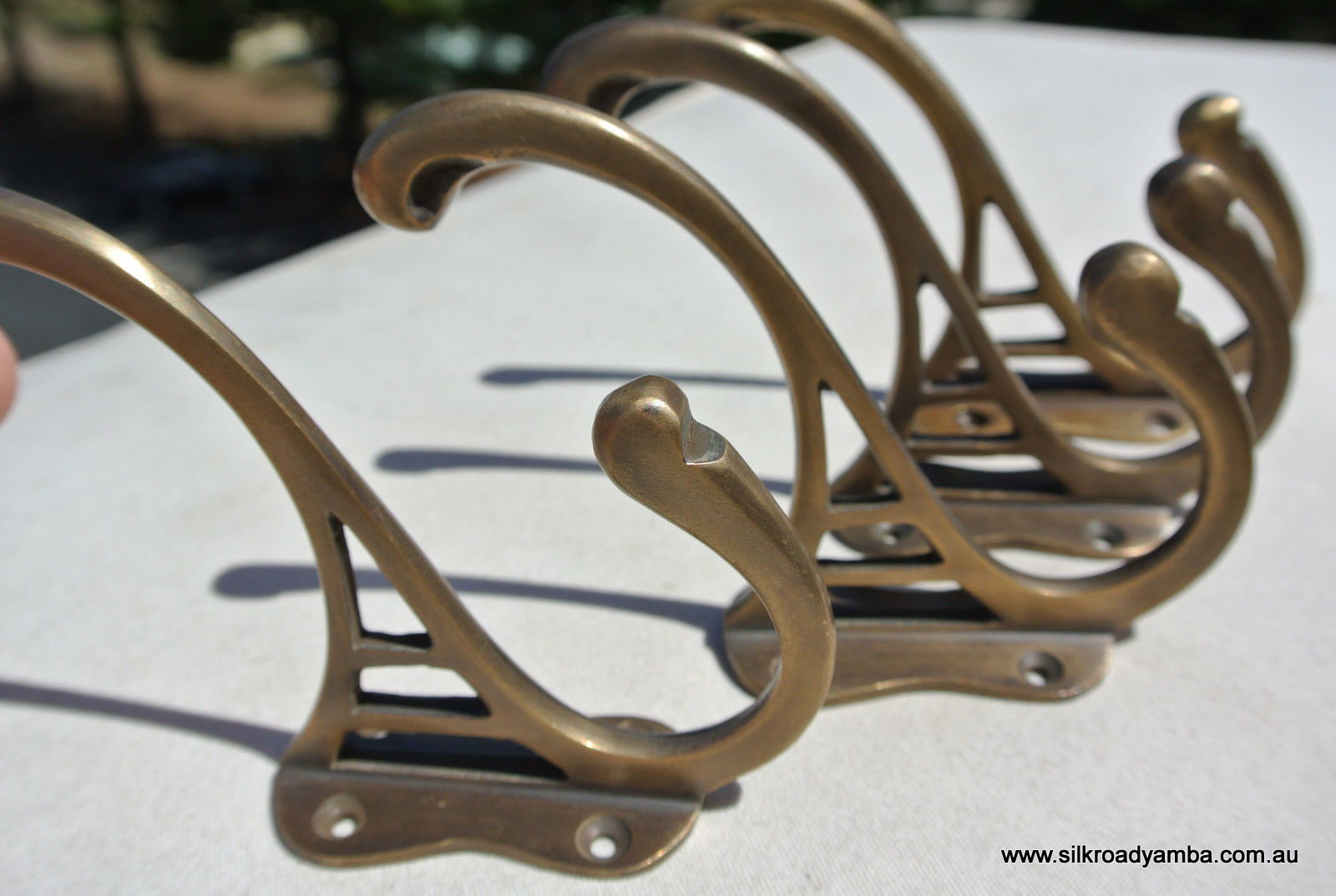 "4 hall stand COAT HOOKS door solid brass antiques vintage old style 5/"" hook B"