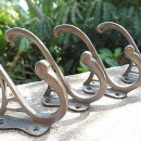 "4 COAT HOOKS door solid brass antiques vintage old style 4"" DECO hall stand B"