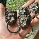 4 PULLS handles Small heavy LION SOLID BRASS old style screws house antiques B