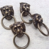 4 tiny PULLS handles Small heavy LION SOLID BRASS old style house antiques B
