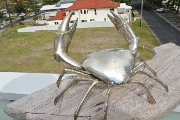 """BIG MUD CRAB solid brass silver plated heavy decor stunning 10 """" hand made B"""