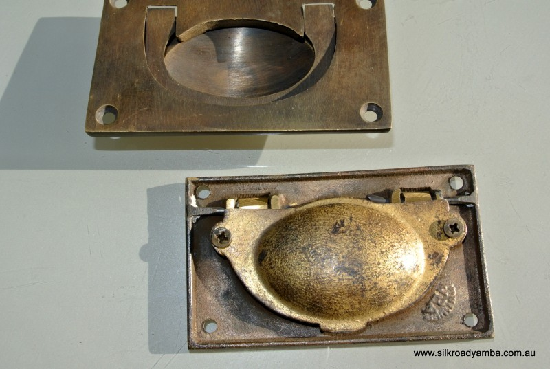2 Heavy Recessed Pulls Handles Box Antique Solid Brass