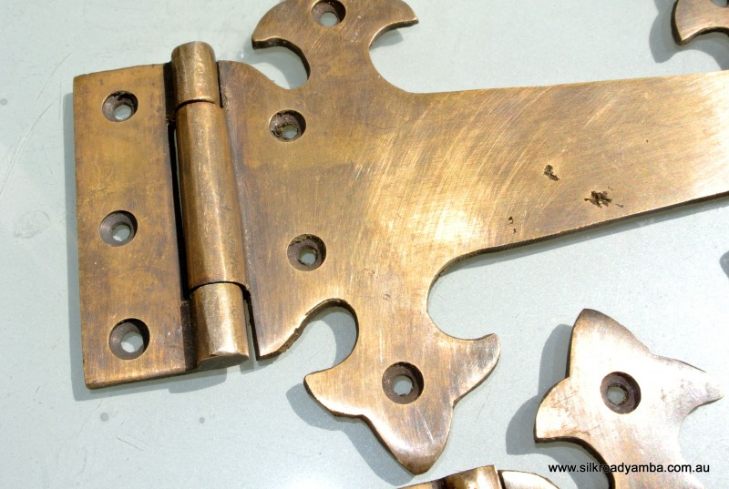2 Large Hinges Vintage Aged Style Solid Brass Doors Box