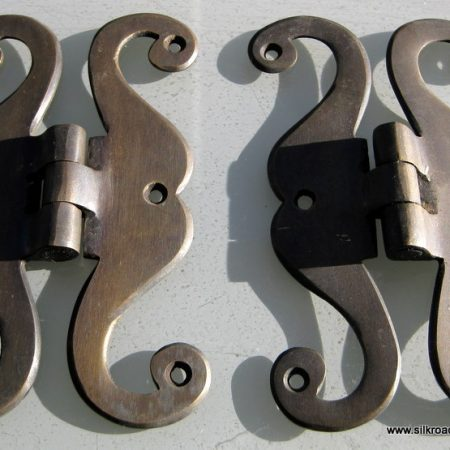 "4 aged small 'S "" snake hinges vintage aged style solid Brass DOOR BOX restoration heavy bronze patina"
