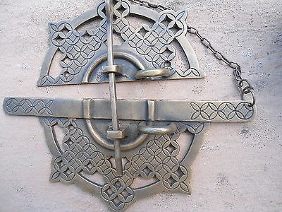 "Large handle pull solid aged brass old vintage style DOOR amazing 7""catch loop B"