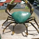 "MUD CRAB solid brass green bronze heavy decoration stunning 10"" hand made nice"