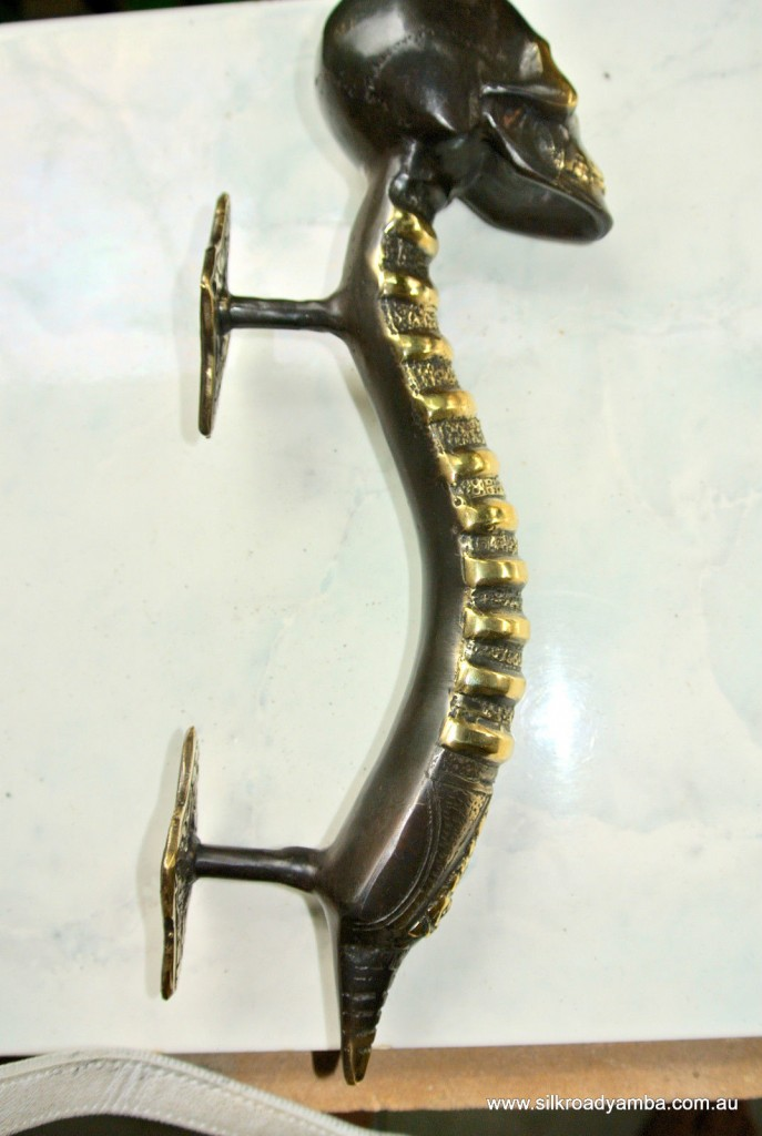 Medium Skull Handle Door Pull Spine Solid Brass Bronze