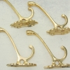 4 small COAT HOOKS door solid heavy brass furniture vintage polished style B hal