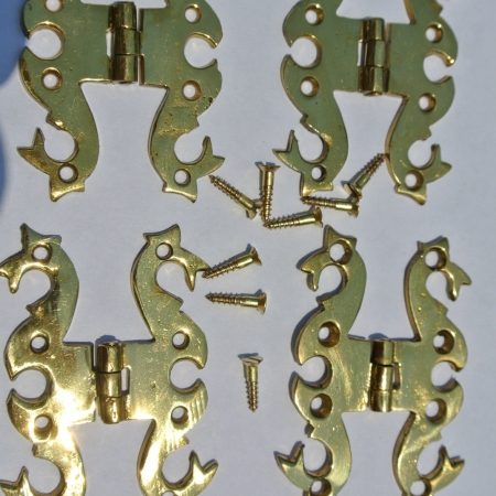 4 small snake solid Brass DOOR small hinges vintage style Polished heavy B screw