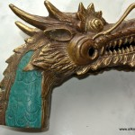 DRAGON head WALKING STICK STAFF end BRASS green lord of the rings hollow B