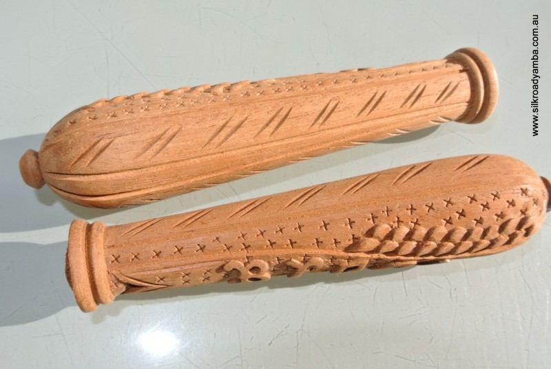 2 Wooden Bread Knife Handles Hand Made Carved Bread