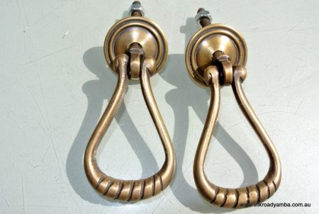 2 Loop Pulls Drops Handles Antique Style Solid Brass