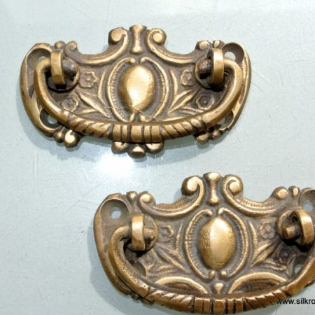 "2 small 6.5 cm pulls drops 2.1/2"" inches handles antique style bronze patina solid brass vintage old replace drawer heavy"