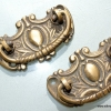 """2 small 6.5 cm pulls drops 2.1/2"""" inches handles antique style bronze patina solid brass vintage old replace drawer heavy"""