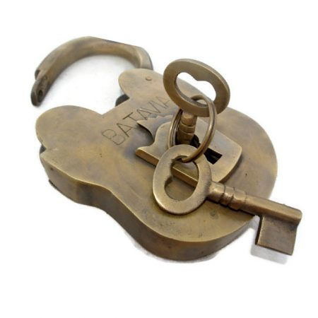 "large Vintage style antique ""BATAVIA "" 5"" Padlock solid brass key heavy lock works watson 099"