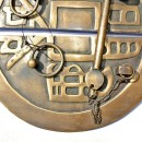 """Large handle pull solid aged brass old vintage style look DOOR heavy 8"""" catch B"""