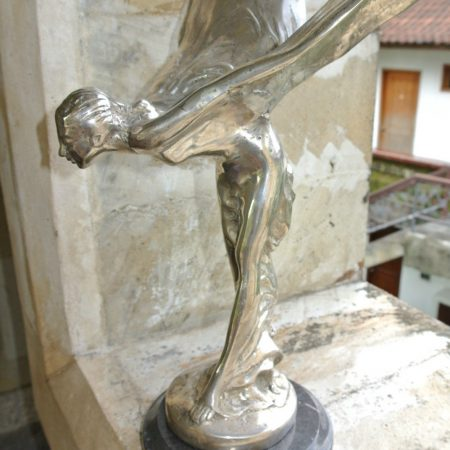 "Rolls Royce car statue flying lady brass emblem copy on marble base 14"" silver B"