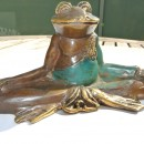 """YOGA FROG statue brass hand made old style GREEN 5"""" lotus position cute"""