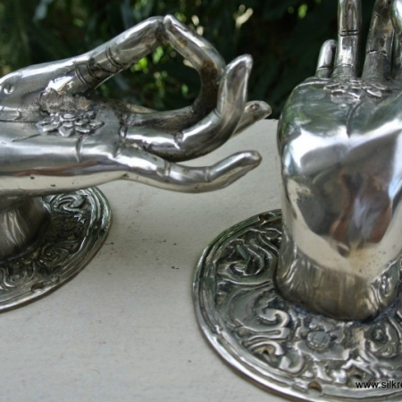 2 large BUDDHA Pull handles hand silver plated hollow brass door old style 10 cm back plate knob gate bronze colour fingers hook
