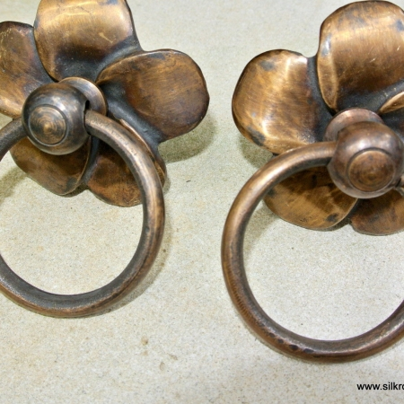"2 FLOWER handle ring pull solid brass heavy old vintage old style DOOR 3"" B"