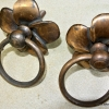 """2 FLOWER handle ring pull solid brass heavy old vintage old style DOOR 3"""" B"""