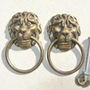 2 PULLS handles Small heavy LION SOLID BRASS old style screws house antiques