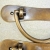 "2 heavy handle BOX pull solid brass heavy old vintage old style DOOR drawer 6"" B"