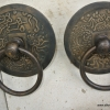 """2 round handle ring pull solid brass heavy old vintage asian style DOOR 4"""" B"""