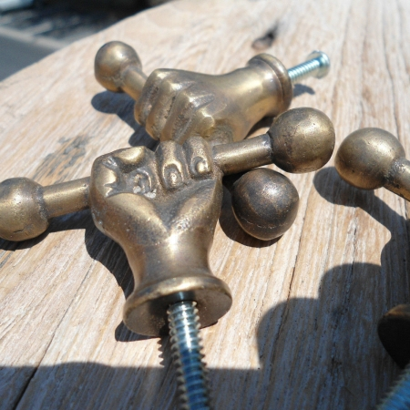3 large pulls handles FIST solid brass old style shape of HAND knobs heavy 66mm