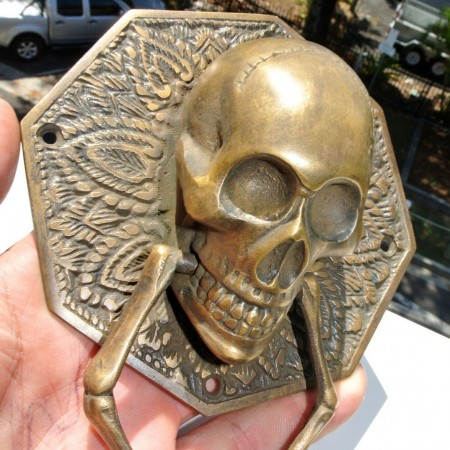 "SKULL door KNOCKER solid BRASS heavy DOOR handle 5"" ring pull"