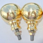 "2 Bed COT KNOBS heavy solid brass inc bolt thread old vintage style 2"" across"