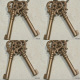 8 KEY old stye vintage french antique look solid heavy brass aged key 85 mm bronze oxidized patina