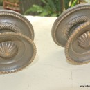"2 heavy handle KNOB aged old solid Brass PULL large knobs kitchen 2"" regency"