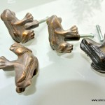 4 small FROG KNOBS pulls handles antique solid heavy brass drawer knob 36 mm