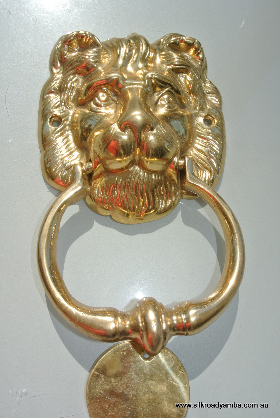"LION solid BRASS hand made DOOR KNOCKER 6.1/2"" heavy POLISHED finish"