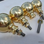 "4 Bed COT KNOBS heavy solid brass inc bolt thread old vintage style 2"" across"
