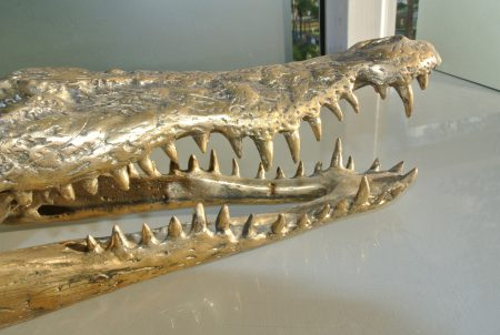 Crocodile skull solid brass large heavy decoration stunning hand made 365mm statue head jaw